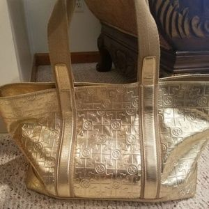Metallic Logo-embossed Gold Leather Canvas Tote